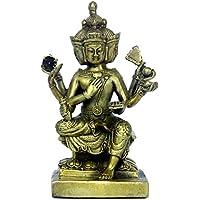 Fatto a mano in ottone Buddha con quattro facce decorato bronzo statua statuetta scultura Home decorazione ornamento
