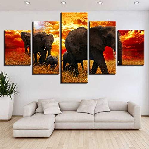 WZYWLH Wall Art Modular Lienzo 5 Unidades Animales Elefantes Familia Atardecer Paisaje...
