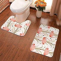 Badteppiche Set Pink Flamingo Clipart-Stil, Set aus weichen Chenille-Badematten, saugfähigen Badteppichen und rutschfesten Badematten für Badewanne, Dusche, Bad