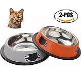 Cuencos para Gatos, Sportgirls 2 Piezas Antideslizante Cuencos Gato Antideslizantes Gatos Cuencos Agua Comida Alimentación Platos para Pequeña Medio Grande Gatos (Naranja y plata)