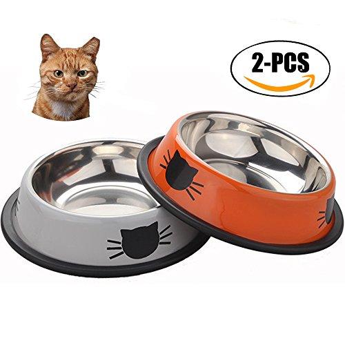 Ciotola di gatto, sportsgirl 2 paezzi acciaio inossidabile antiscivolo ciotola di gatti gattini ciotola per cibo per gatti ciotola per gatti ciotola per l'alimentazione del gatto ciotola di acqua di gatto di piccoli media grande gatti