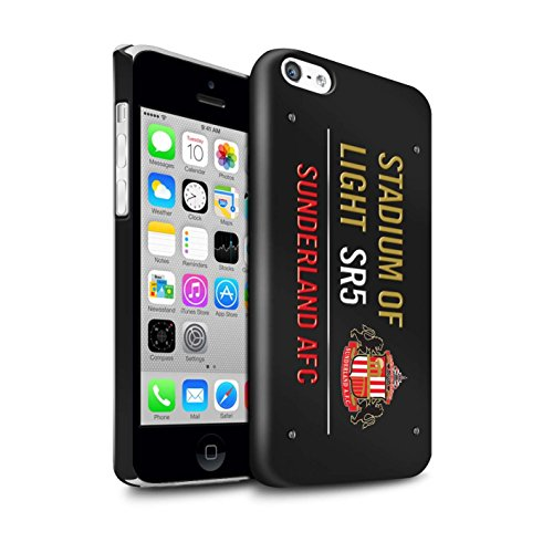 Offiziell Sunderland AFC Hülle / Glanz Snap-On Case für Apple iPhone 5C / Pack 6pcs Muster / SAFC Stadium of Light Zeichen Kollektion Schwarz/Gold