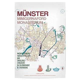 artboxONE Poster 60x40 cm Stadtmotiv Münster Karte von Künstler Tobias Brenner