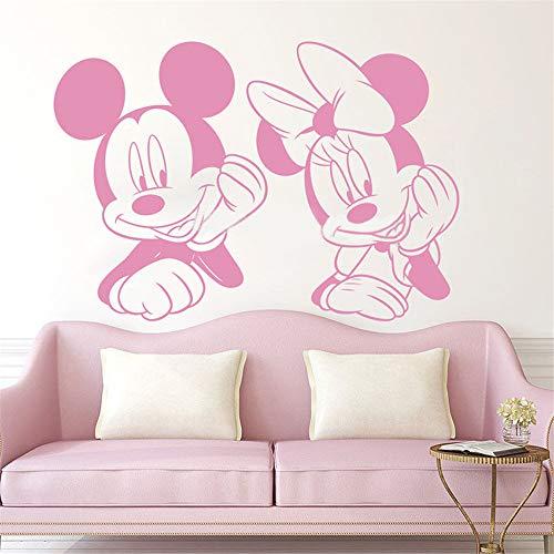 dtattoo Kinderzimmer Mickey Minnie Mouse Wandkunst Aufkleber Aufkleber Mickey Minnie Mouse Put Hand auf Gesicht Wandaufkleber Anime Tier Vinyl abnehmbare Aufkleber Kindergarten ()