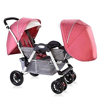 Kaysa-TS El Cochecito de bebé Gemelo, plegamiento Doble del niño Puede sentar el Cochecito de bebé Gemelo reclinable, Cochecito de bebé del Amortiguador de 0-6 años de Viejo