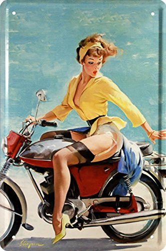 Sexy Straps Maus Pin Up Girl with Bike 20 x 30 Nostalgie Deko Blechschild 1423