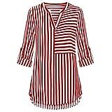 ZIYOU Damen Lange Ärmel Bluse Chiffon, Streetwear Gestreiften Oberteile Tops Langarmshirts V-Ausschnitt Blusen T Shirt (Rot, EU-40 / CN-L)