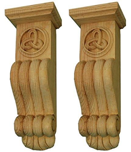 Keltische Knoten Fire Surround Corbel. Handgeschnitzt in natur massiv Pinewood. zusammengehöriges Paar. (Holz Traditionelle Corbel)