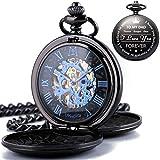 ManChDa - Reloj de Bolsillo Personalizable con Grabado Personalizado para Regalo de Marido, Reloj de Bolsillo Vintage con Cadena para Hombre, Regalo de San Valentín, Bonito Regalo para la Familia