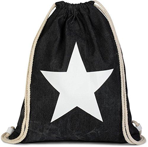 styleBREAKER borsa sportiva hipster denim con stampa stella stile washed batik zaino bauletto borsa sport unisex 02012171 coloreNero