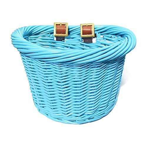 colorbasket 01440 Junior Front Handlebar Wicker Bike Basket, Blue by colorbasket -