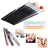 #8: SGM® Nail Art Paint kit , 15 Pieces Nail Art Paint Brushes with 5 Pieces 2 Way Marbleizing Dotting Pen and 5 Pieces Assorted Colors Nail Striping Tape for Nail Decorations - Satisfaction Guaranteed!