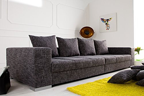 Design XXL Sofa BIG SOFA ISLAND in grau charcoal Strukturstoff inkl. Kissen - 5