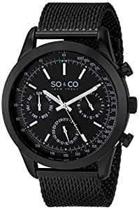 SO & CO New York - 5006.3 - Montre Homme - Quartz - Analogique - aiguilles luminescentes - Bracelet Acier inoxydable noir