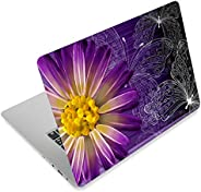 Butterfly & Daisy Flower 12.1 13 13.3 14 15 15.4 15.6 Inches Personalized Laptop Skin Sticker Decal Univer