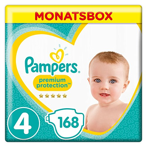 Pampers Premium Protection Monatsbox Vorteils-Set: Premium Protection Windeln Gr. 4 (9-14 kg), 1 x 168 Stück und Premium Protection Pants Gr. 4 (9-15 kg), 1 x 160 Stück