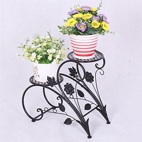 Edge to Porte-Fleurs European - Style Iron Flower Racks Pastoral Double -  Pots de Fleurs au Sol Salon intérieur Balcon Pots (Couleur : Noir)