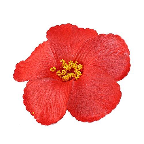 Tinksky Hibiskus Blumen Blüten M1029Kunstblume für die Tischdekoration Favors Favors Lieferungen Hochzeit Luau Hawaii Dekoration Partyzubehör 1PCS (rot)