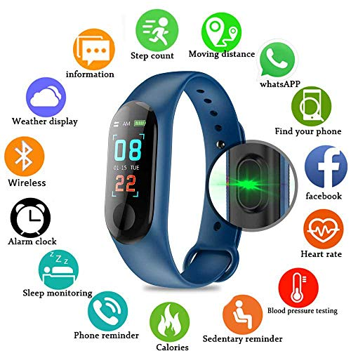 Pulsera inteligente/rastreador de fitness, pantalla de color HD IP68 impermeable M3 Plus...