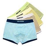 4 Pack Kinder Jungen Boxershorts Unterwäsche Slips Junge Boxer Unterhose Baumwolle Mikrofaser Slips Schlüpfer 2-13 Jahre (150, Streifen)
