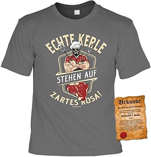 TiniShirts Griller Sprüche-Tshirt - Lustiges Motiv-Shirt - Griller Partyshirt : Echte Kerle Stehen auf zartes Rosa - Bekleidung Grillen Grill Zubehör Gr: M