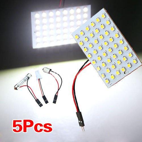 SODIAL(R) 5pcs del coche Luz Interior Panel 48 SMD LED T10 BA9S adorno de la boveda del bulbo del panel adaptador 12V Blanco