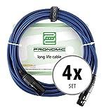 4er Set Pronomic Stage DMX3-20 DMX-Kabel 20 Meter (zur Verkabelung von Lichteffekten, Goldkontakte, Mantelfarbe: Blau, XLR Male zu XLR Female) blau