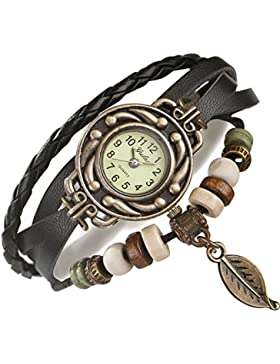 FLORAY Damen und Herren Schwarz Lederarmbänder,Armbanduhr. Gratis Blue Jewellery Box. Länge: 18cm - 20cm