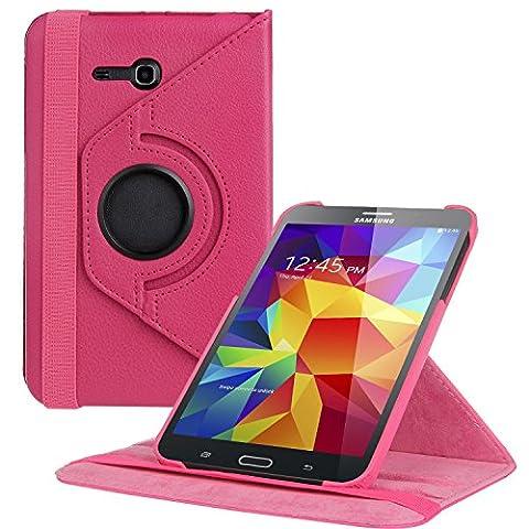 EnGive 360° Drehbares Ledertasche Schutzhülle Leder Tasche Samsung Galaxy Tab 3 7.0 Lite T110 T111 (7 Zoll) Hülle (Samsung Galaxy Tab 3 7.0 Lite, Rosa)