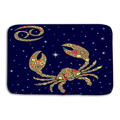 iday Rectangle Non-Slip Rubber Mat Multicolor 23.6 by 15.7 Inch Zodiac Sign Cancer Variegated Flowers Fill Over Starry Sky Colorful warm hues Background Blue ()