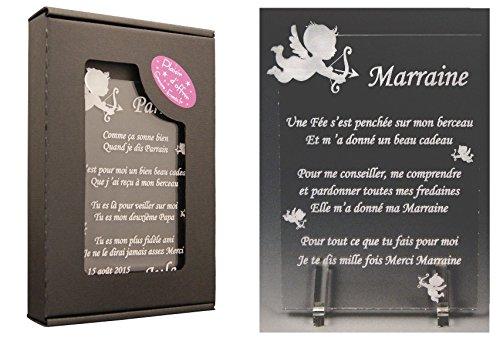 1 Poème Marraine - Ange (spécialiste des Cadeaux Parrain Marraine Baptême)