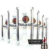 6 x Paulaner Moldau Seidel 0,5l Glas/Gläser, Markenglas, Bierglas + anygoods Flaschenausgiesser