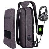 Sac à Dos D'affaires,XQXA Sac à Dos Ordinateur Portable 17 Pouces pour Hommes et Femme avec USB Charging Port And Headphone Port Gris-20L