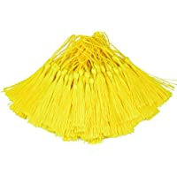 Makhry 100 borlas de 13cm, hilo sedoso, con hilo de 5 cm para colgar, pequeño nudo chino, para fabricación de joyería, souvenirs, marcapáginas, manualidades, accesorios