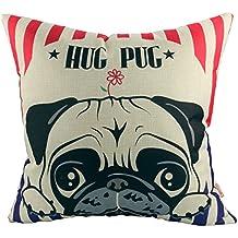 Luxbon Un Carlino Hug Pug Cane Federa Per Cuscino In Contone Lino  Copricuscino Decorativo Per Casa