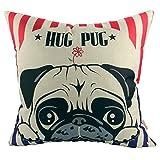 Luxbon Un Carlino Hug Pug Cane Federa per Cuscino in Contone Lino Copricuscino Decorativo per Casa Divano Sedia Stanza Letto 45 x 45 cm