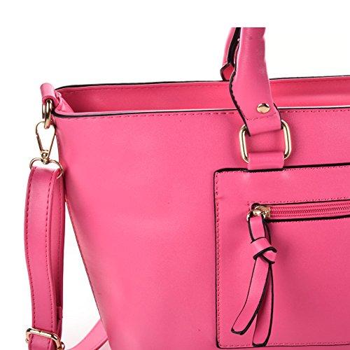 Premium Leather, Borsa a mano donna L Fuchsia