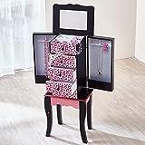 Fashion Prints TD-11672A Gioielli Armoire con Specchio Legno 30.5 x 20.96 x 73.66 cm, Rosa / Nero