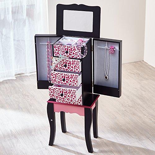 Fashion Prints Teamson Kids - Mode Drucke Kinder Schmuck Brust Schrank - Leopard (Pink/Schwarz), Holz, Rosa, 30.50 x 20.96 x 73.66 cm - Kommode, Spiegel, Brust