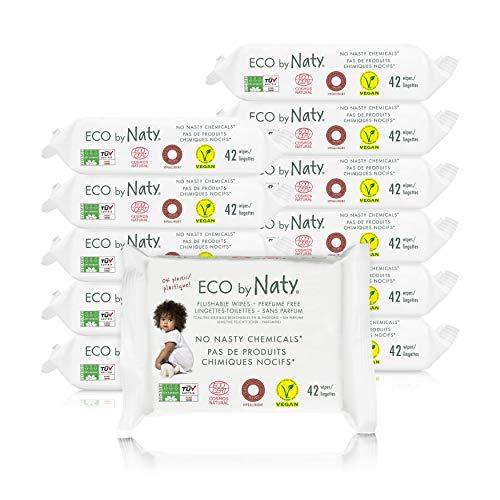 Eco by Naty, WC-freundliche Feuchttücher, 504 Stück (12x42 Tücher) pflanzliche kompostierbare Baby-Feuchttücher, 0% Plastik auf der Haut. Frei von gefährlichen Chemikalien