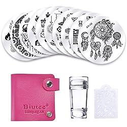 Biutee 10pcs Plaque Stamping avec 1 Tampon 1 Grattoir 1 Sac de Rangement Nail Art Stamping Vernis Outil Fleur/Attrape-rêves/Papillon/Ballerine