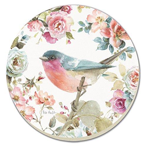 CounterArt Vogel und Rosen saugfähig Untersetzer, 4Stück