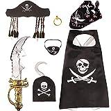 VAMEI Piraten Kindergeburtstag PiratenKostüm Set Inklusive Hut Augenklappe Schwert Ohrring und Haken Umhang