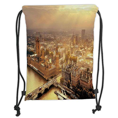 GONIESA Drawstring Sack Backpacks Bags,Cityscape,Westminster Aerial View with Thames River and London Urban Cityscape Panoramic,Gold Grey Soft Satin,5 Liter Capacity,Adjustable String Closure,T