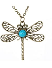 Amybria Jewelry Dragonfly Vintage Brass Pendant Turquoise Crystal Long Retro Chain Necklace Clothes For Woman