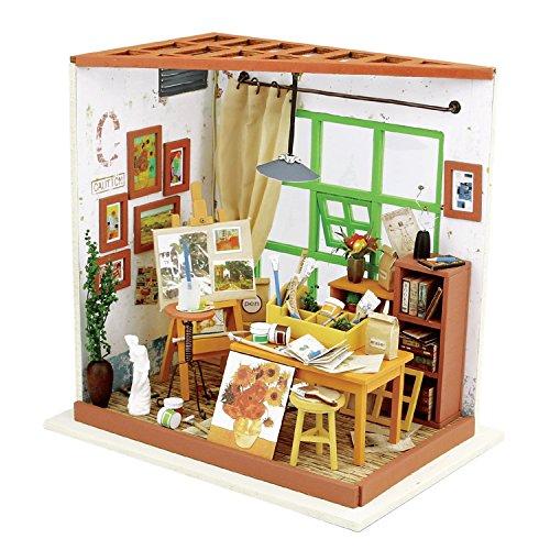 ROBOTIME Dollhouse Kit Rénovation de meubles Woodcraft Kit de Construction Mini Maison de Bricolage à la main Avec Lumières et Accessoires Miniature Home Decor Décor de Noël (Ada's studio)