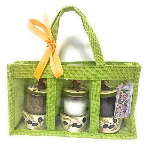 Grünes Kraut Samen (Histoire de Soleil - Tasche aus Jute, farbig mit Fenstern und 3 Mühlen: Kräuter der Provence, Kamargensalz und Pfeffer aus Samen, Oliven-Motiv, Farbe: Grün)
