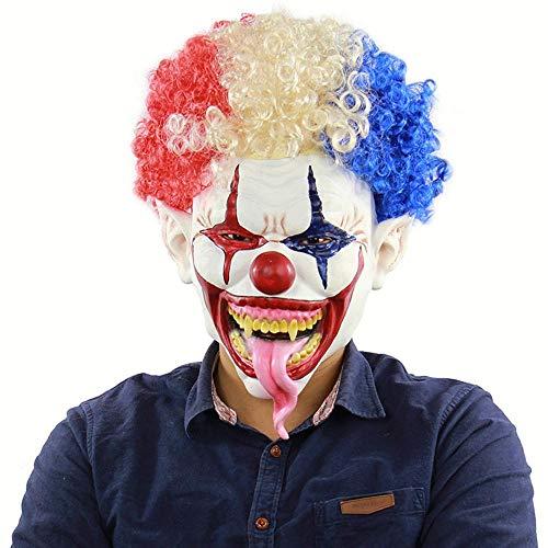 Circlefly Explodierende großen Mund Lange Zunge Clown Maske Halloween Horror Latex Kopfhaube geeignet für Erwachsene Tragen