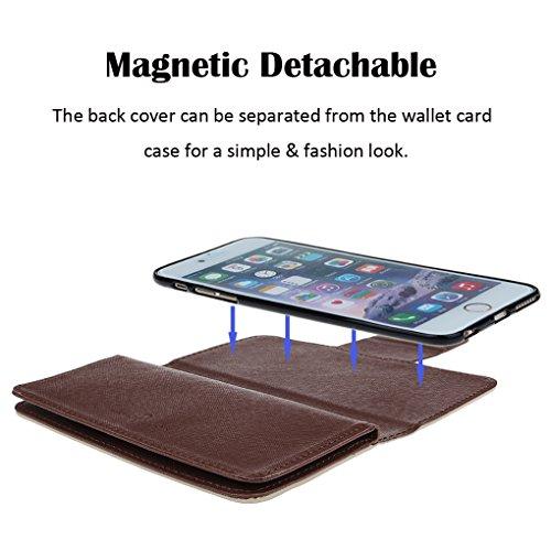 Case for iPhone 7/8 Plus, xhroizon Custodia Folio in pelle Premium [Magnetico] Stile Flip Book Molteplici Card Slot Tasca Cash con Cover di Protezione Magnetica per iPhone 7 Plus/ 8 Plus [5.5] Beige + 9H vetro temperato Film