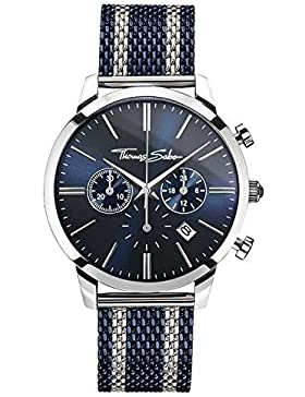 Thomas Sabo Herren Armbanduhr Chronograph Quarz Edelstahl WA0285-281-209-42 mm